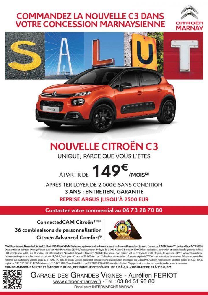 SALUT ! La nouvelle C3 est unique et dans votre garage Citroen à Marnay