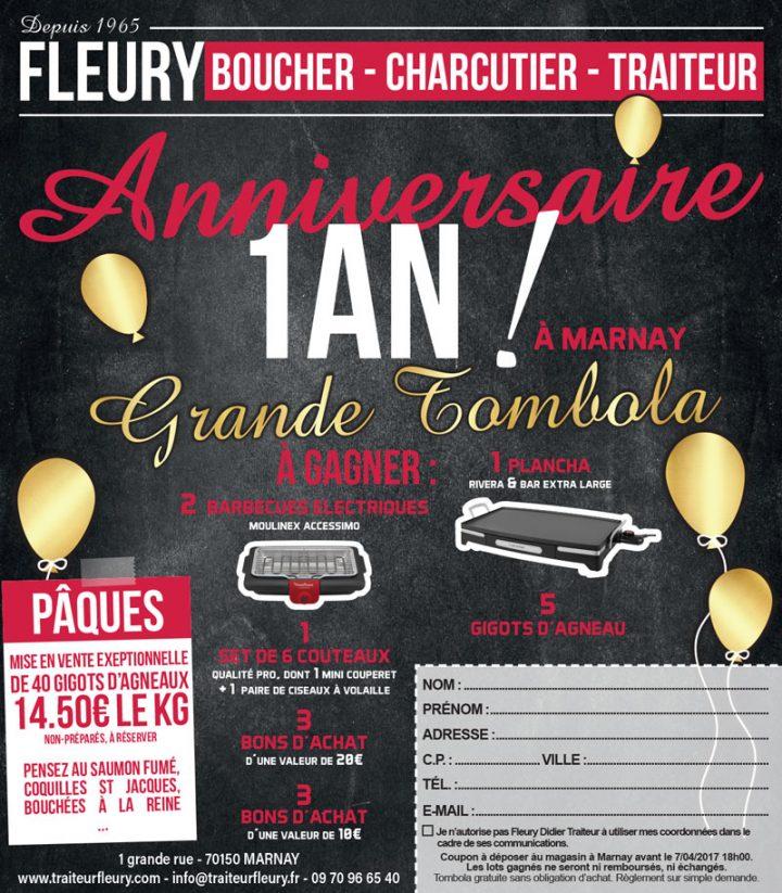 Fête d'anniversaire et tombola à la Boucherie Fleury Marnay