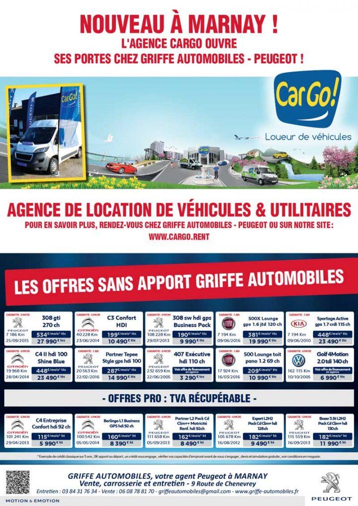 Besoin d'un véhicule de location : l'agence CARGO ouvre chez Griffe Automobiles – Peugeot à Marnay