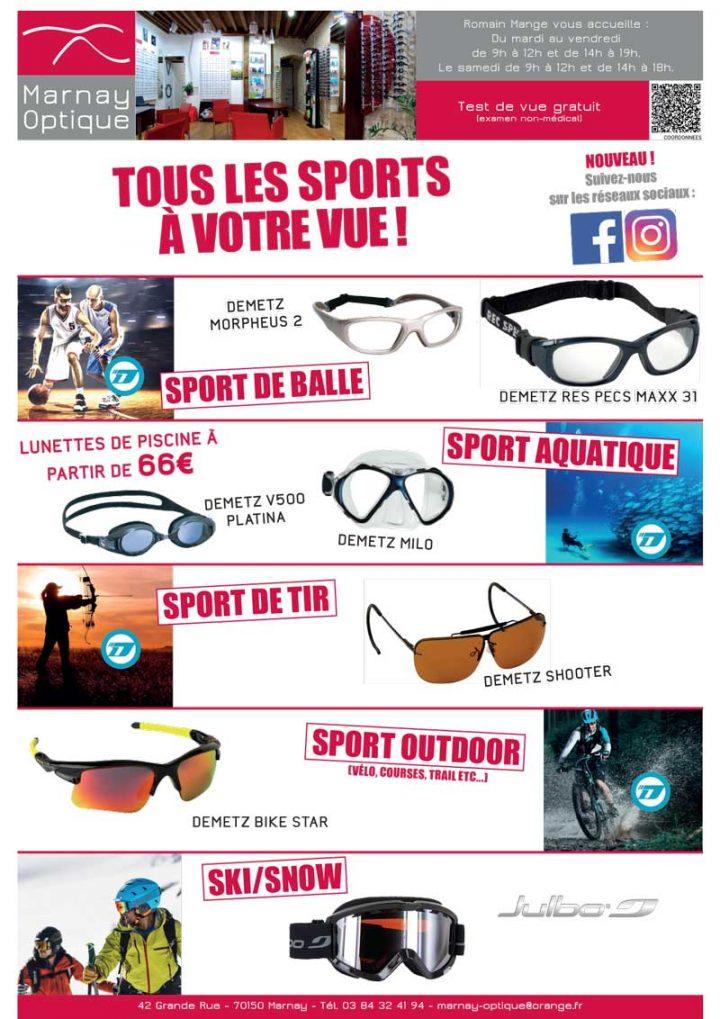 Parce que sport et lunette ne sont pas incompatibles : Marnay Optique, votre spécialiste