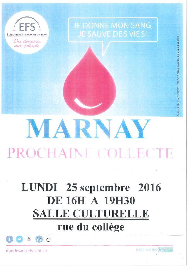 Don du sang à Marnay : lundi 25 septembre