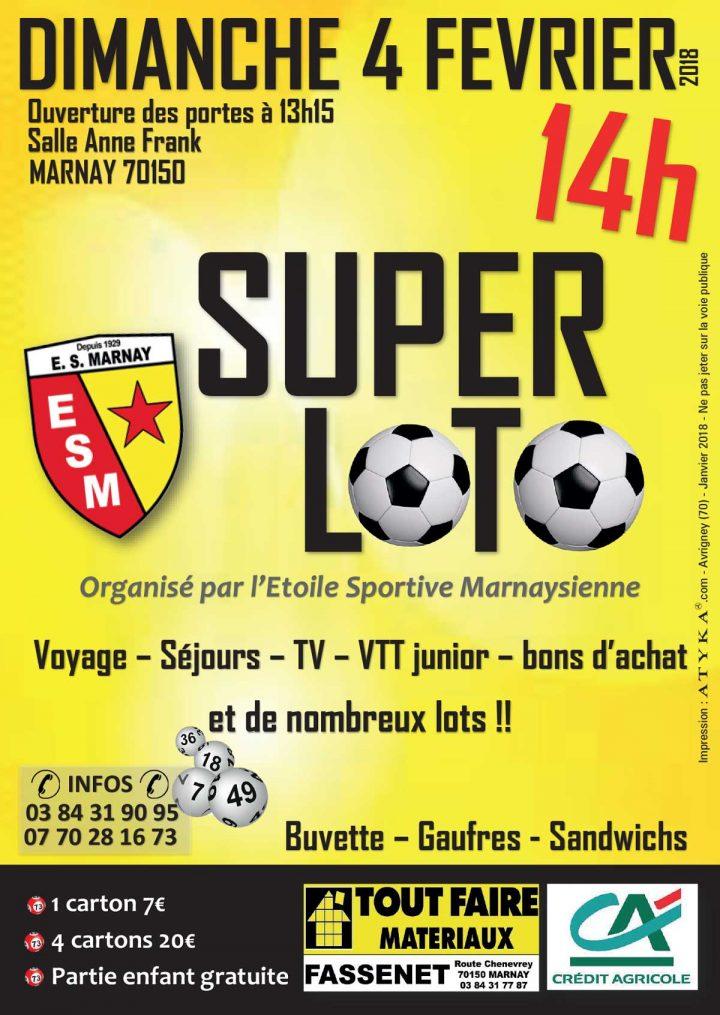 Dimanche 4 février : l'Etoile Sportive Marnaysienne joue à domicile et sous abris….